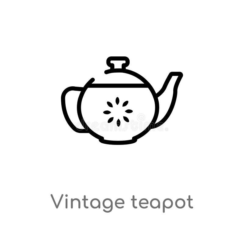 значок вектора чайника плана винтажный изолированная черная простая линия иллюстрация элемента от концепции бистро и ресторана ed иллюстрация вектора
