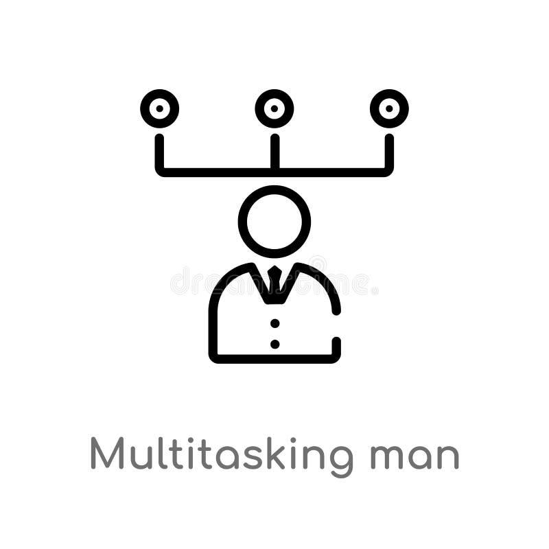 значок вектора человека плана multitasking изолированная черная простая линия иллюстрация элемента от концепции сети editable ход иллюстрация вектора