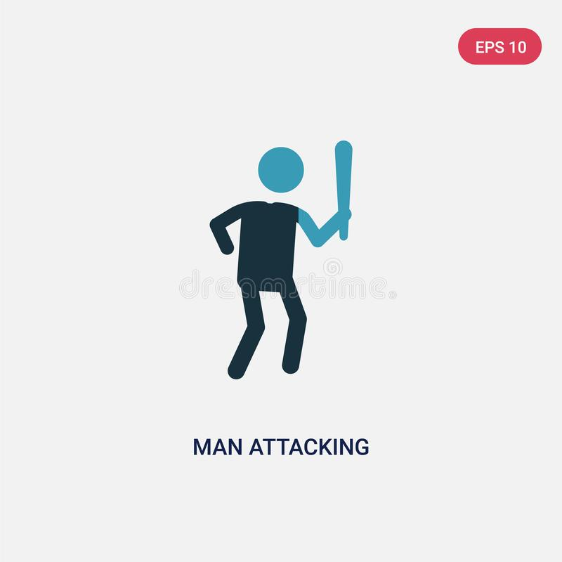 Значок вектора человека цвета 2 атакуя от концепции людей изолированный символ знака вектора голубого человека атакуя может быть  бесплатная иллюстрация