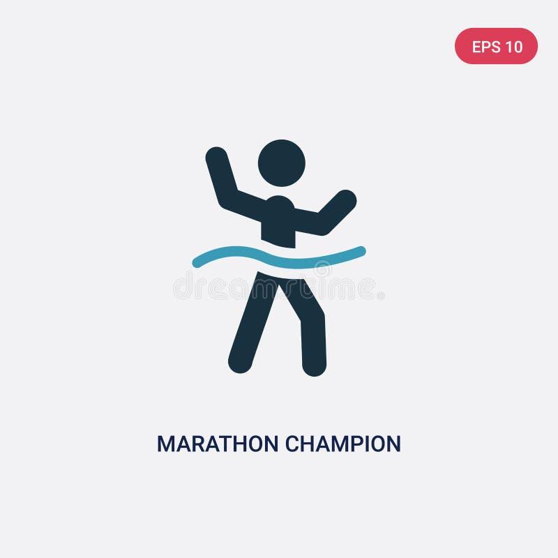 Значок вектора чемпиона марафона 2 цветов от концепции спорт изолированный голубой символ знака вектора чемпиона марафона может б иллюстрация штока