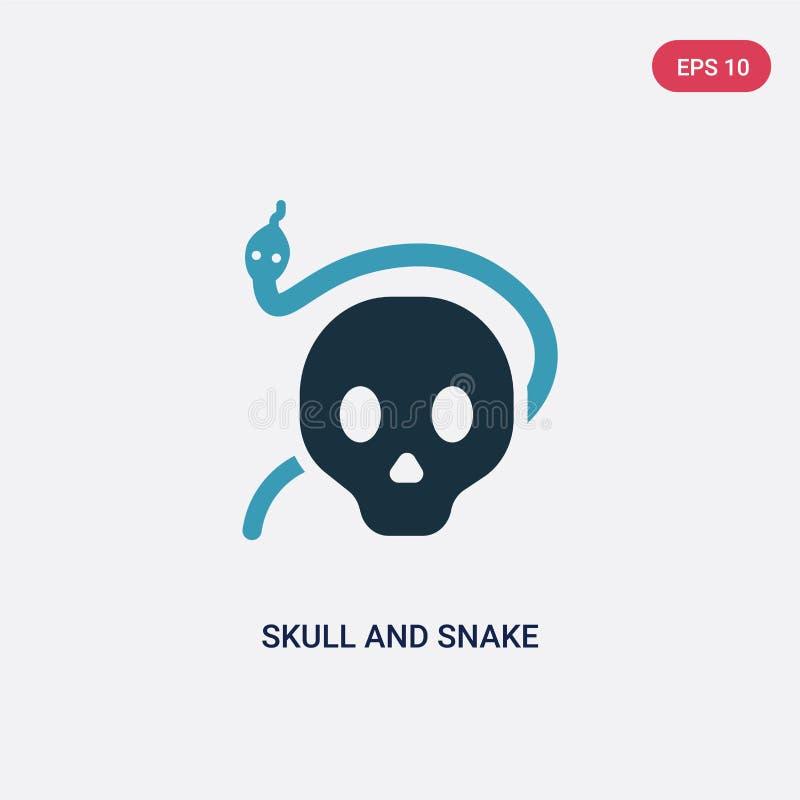 Значок вектора черепа и змейки 2 цветов от концепции форм изолированный голубой символ знака вектора черепа и змейки может быть п иллюстрация вектора