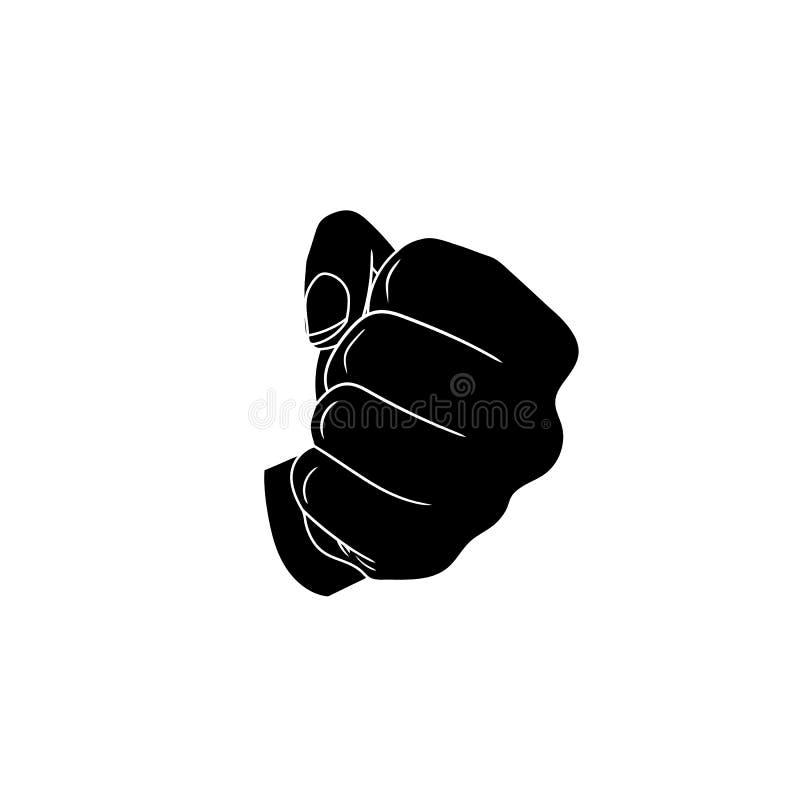 Значок вектора: Черный кулак, плоская иллюстрация дизайна изолированная на предпосылке Whtie иллюстрация штока