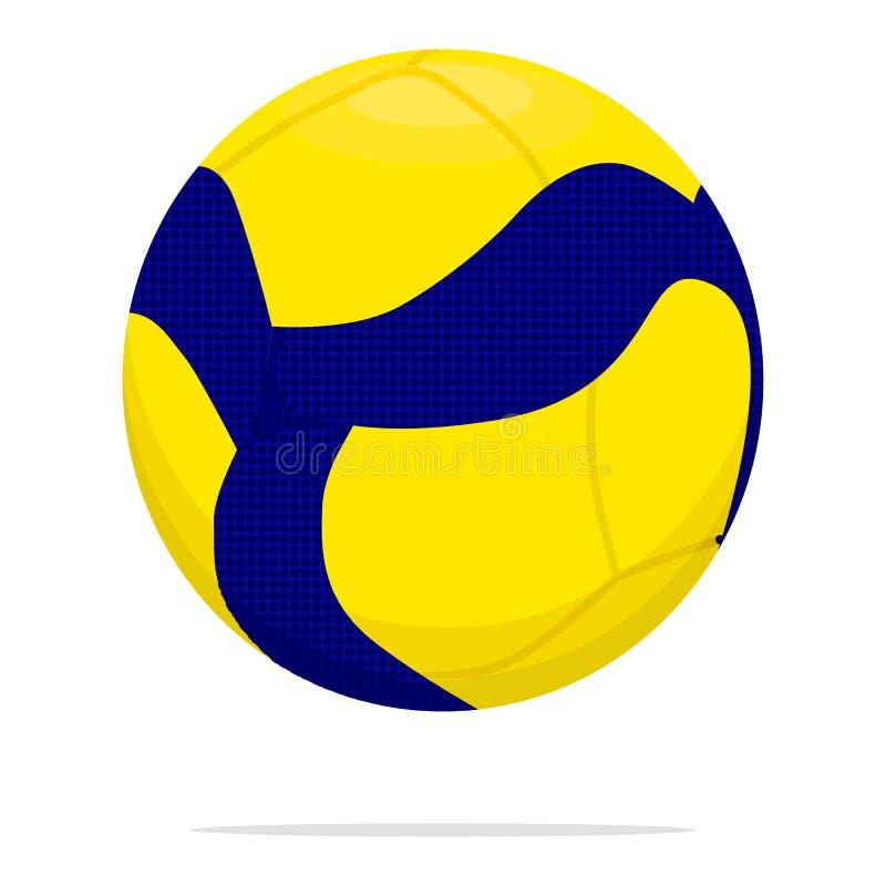 Значок вектора шарика волейбола Иллюстрация концепции шарика игры Дизайн стиля желтого и голубого шарика реалистический, конструи иллюстрация штока