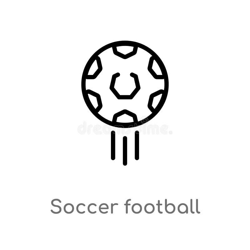 значок вектора шарика футбола футбола плана изолированная черная простая линия иллюстрация элемента от концепции спорт editable в иллюстрация вектора