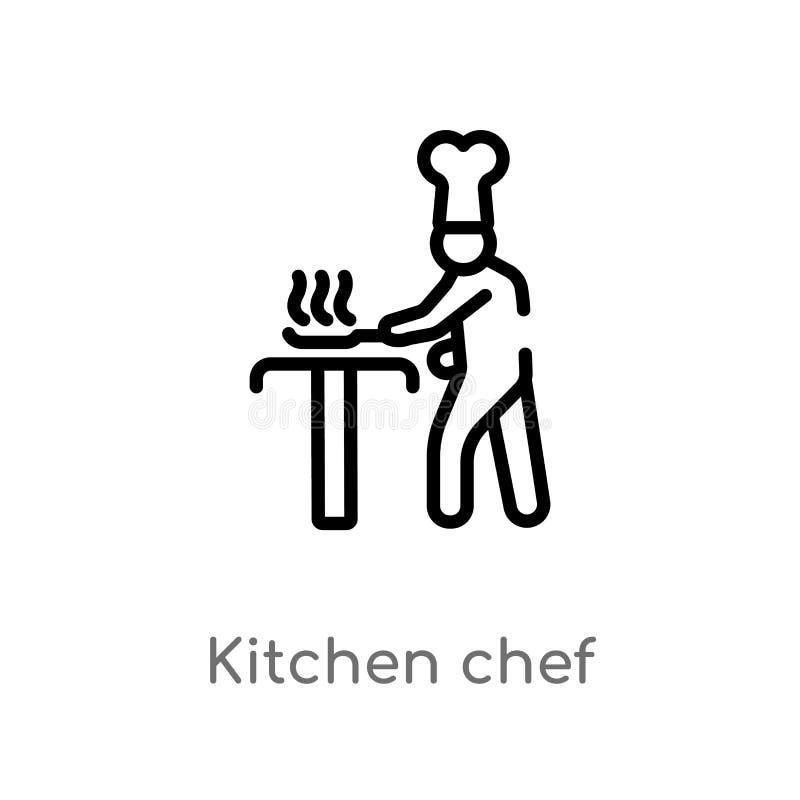 значок вектора шеф-повара кухни плана изолированная черная простая линия иллюстрация элемента от концепции людей Editable ход век иллюстрация штока