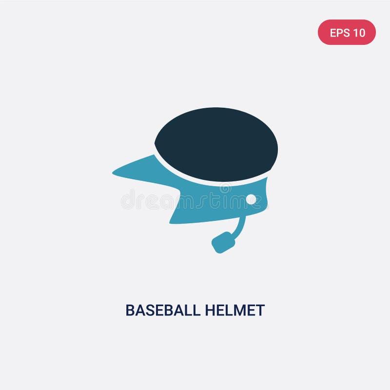 Значок вектора шлема бейсбола 2 цветов от концепции спорт изолированный голубой символ знака вектора шлема бейсбола может быть по иллюстрация вектора