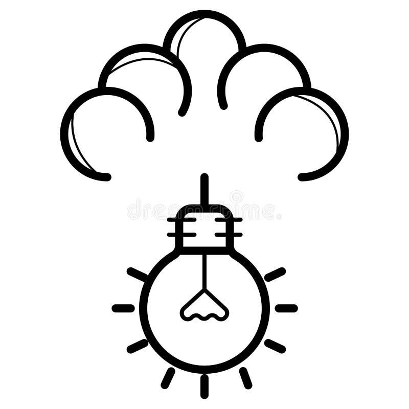 Значок вектора электрической лампочки идеи технологии облака иллюстрация вектора