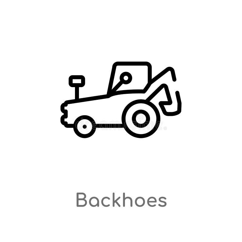 значок вектора backhoes плана изолированная черная простая линия иллюстрация элемента от концепции конструкции o иллюстрация штока