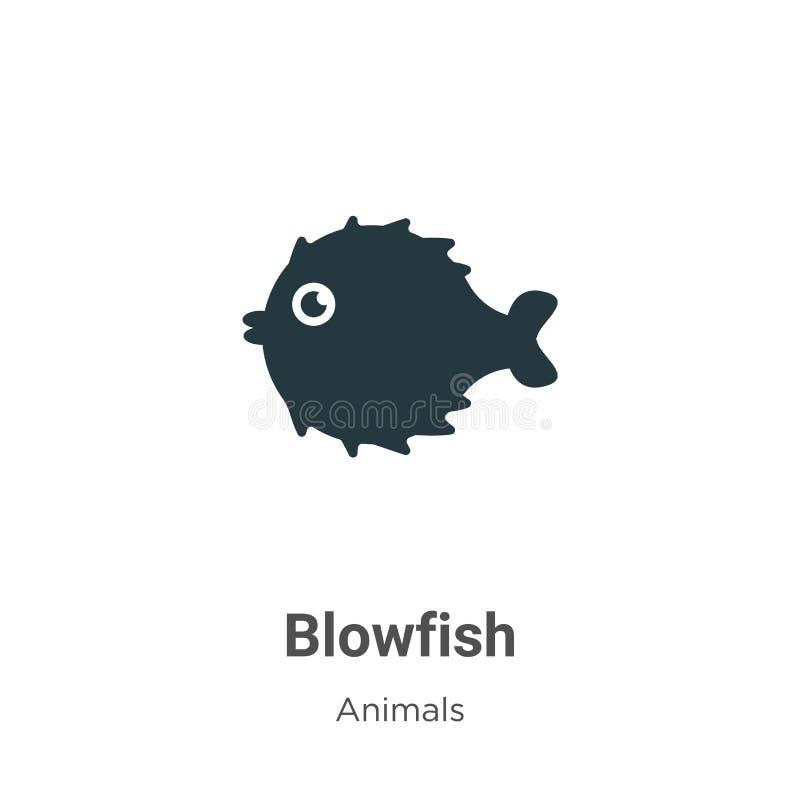 Значок вектора Blowfish на белом фоне Символы векторного пистолета, полученные из коллекции современных животных, для мобильной к иллюстрация вектора