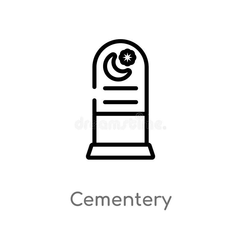 значок вектора cementery плана изолированная черная простая линия иллюстрация элемента от концепции элементов города o иллюстрация вектора