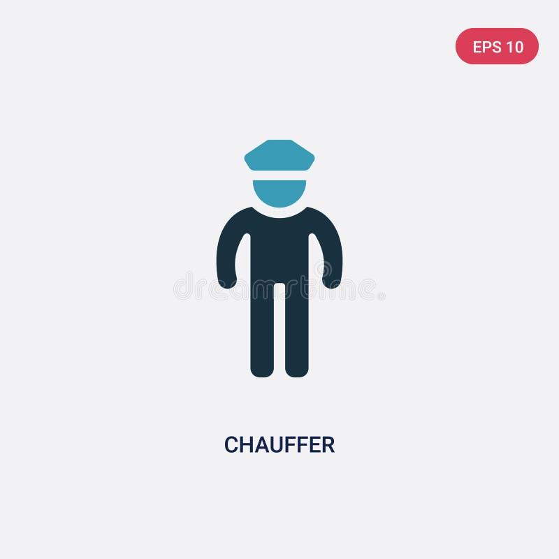Значок вектора chauffer 2 цветов от концепции навыков людей изолированный голубой символ знака вектора chauffer может быть пользо бесплатная иллюстрация