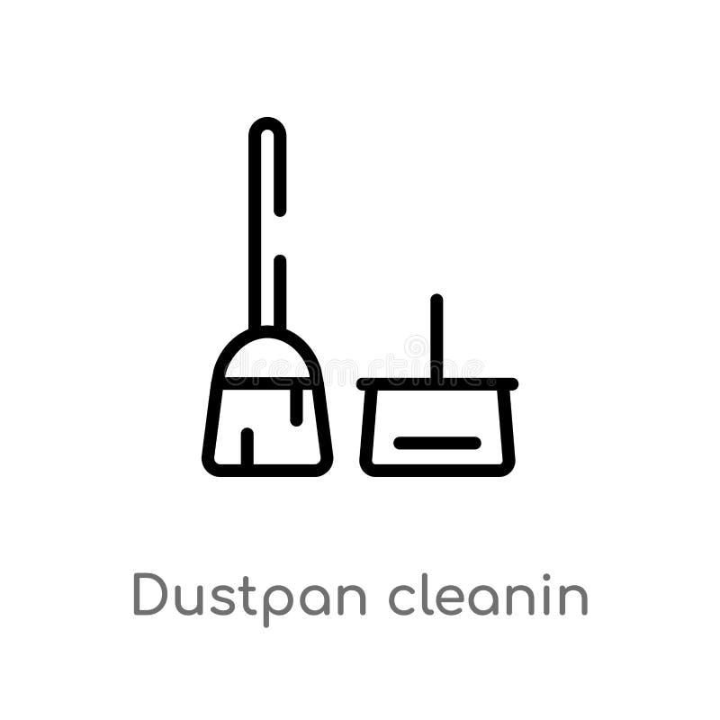 значок вектора cleanin dustpan плана изолированная черная простая линия иллюстрация элемента от очищая концепции Editable ход век иллюстрация вектора