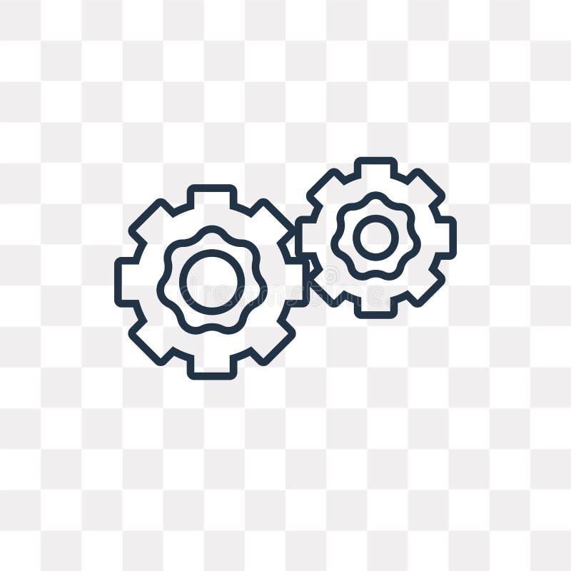 Значок вектора 2 Cogwheels изолированный на прозрачной предпосылке, li иллюстрация штока