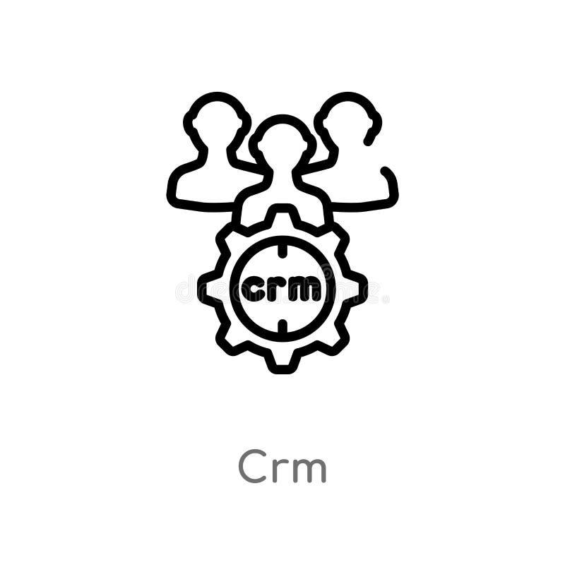 значок вектора crm плана изолированная черная простая линия иллюстрация элемента от выходя на рынок концепции editable значок crm иллюстрация штока