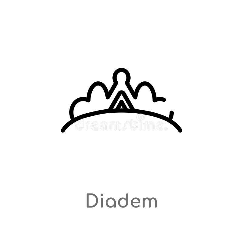 значок вектора diadem плана изолированная черная простая линия иллюстрация элемента от концепции моды editable diadem хода вектор бесплатная иллюстрация