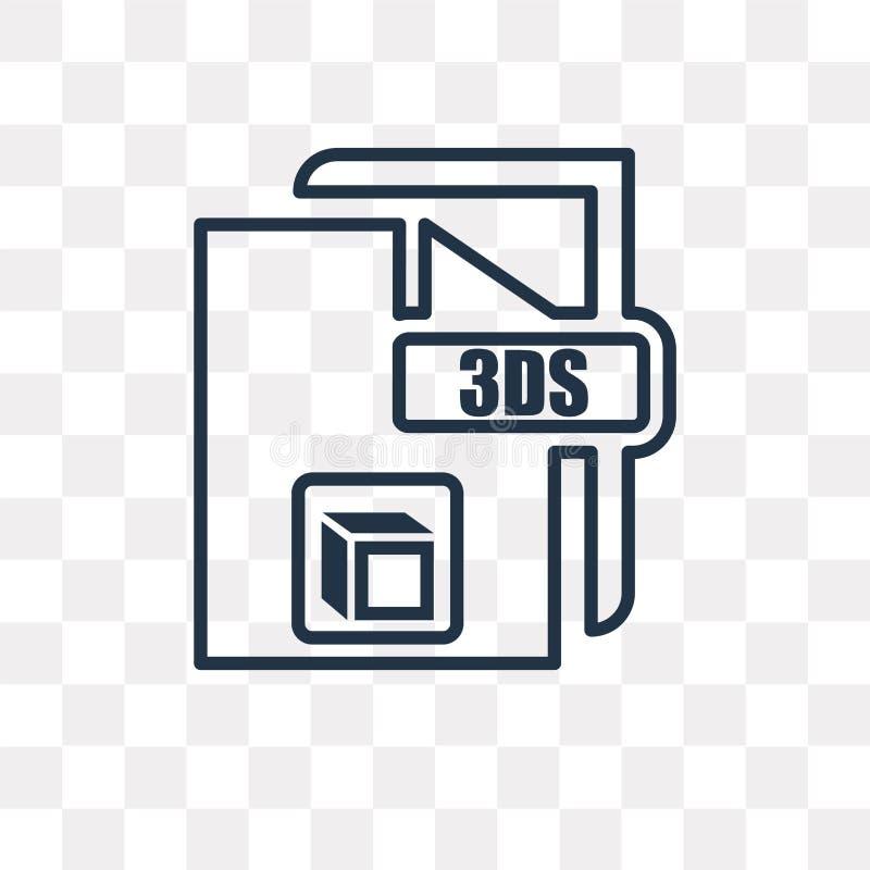 значок вектора 3ds изолированный на прозрачной предпосылке, линейном 3ds t иллюстрация штока