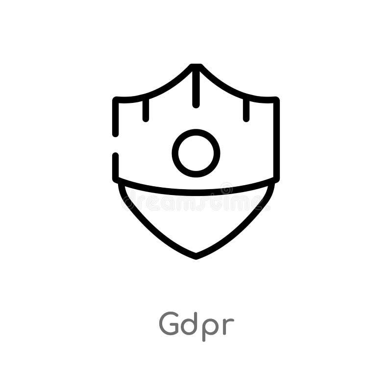 значок вектора gdpr плана изолированная черная простая линия иллюстрация элемента от концепции editable значок gdpr хода вектора  бесплатная иллюстрация