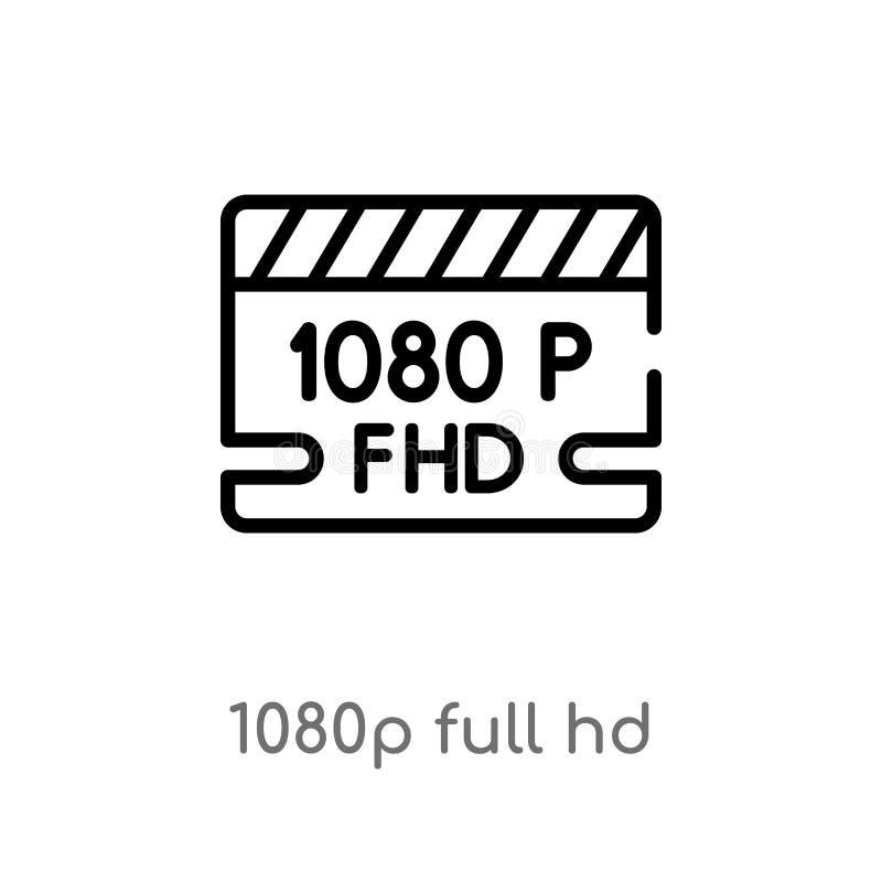 значок вектора hd плана 1080p полный изолированная черная простая линия иллюстрация элемента от концепции кино o бесплатная иллюстрация