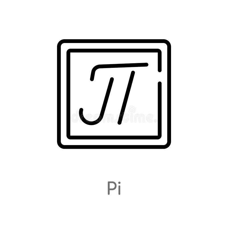 значок вектора pi плана изолированная черная простая линия иллюстрация элемента от концепции образования editable значок pi хода  бесплатная иллюстрация