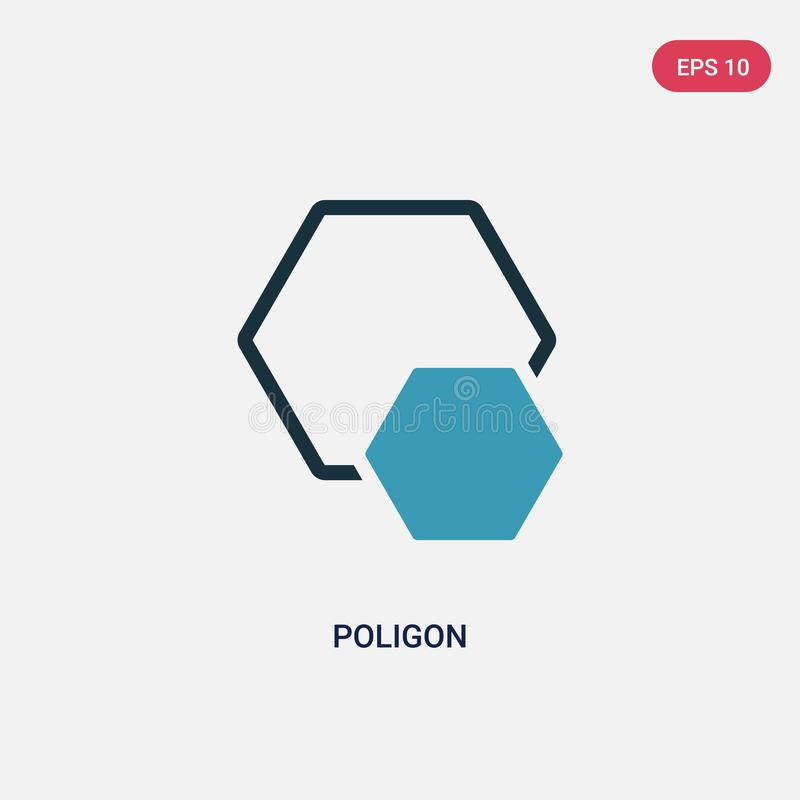 Значок вектора poligon 2 цветов от концепции форм изолированный голубой символ знака вектора poligon может быть пользой для сети, бесплатная иллюстрация