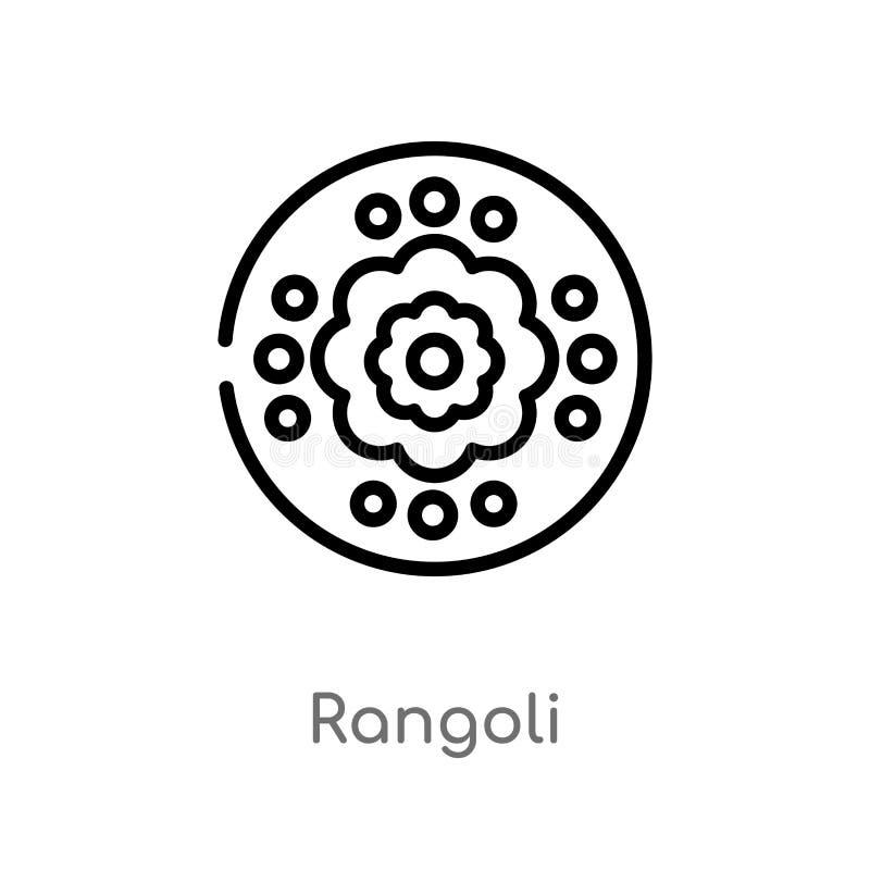 значок вектора rangoli плана изолированная черная простая линия иллюстрация элемента от концепции Индии и holi o иллюстрация вектора