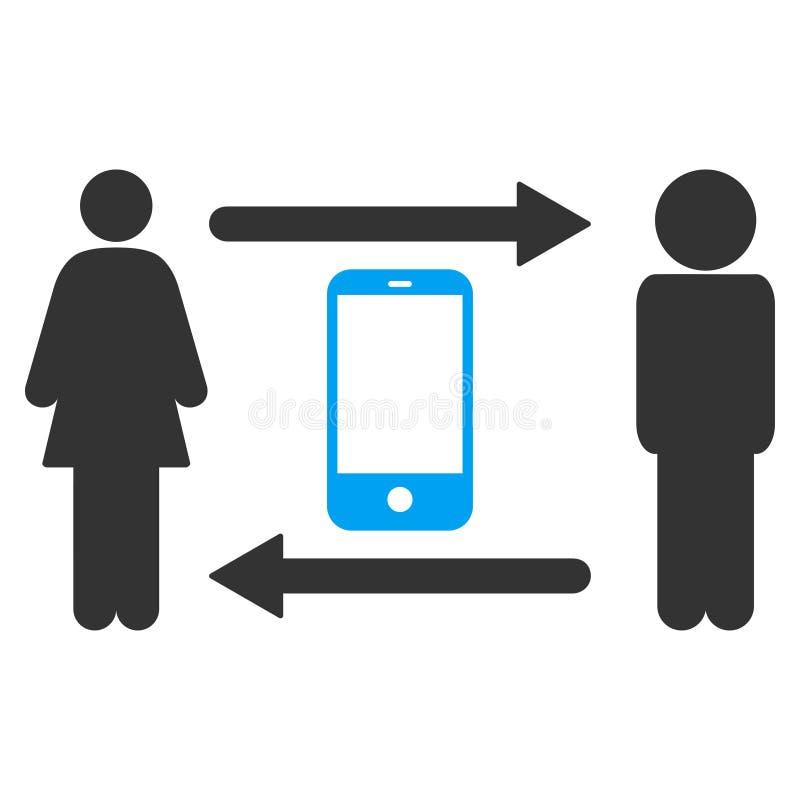 Значок вектора Smartphone обменом людей иллюстрация штока