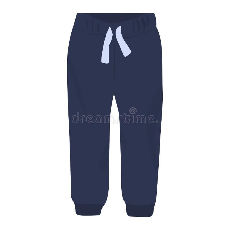 Значок вектора Sweatpants на белой предпосылке Иллюстрация брюк изолированная на белизне Дизайн стиля одежд спорта реалистический бесплатная иллюстрация