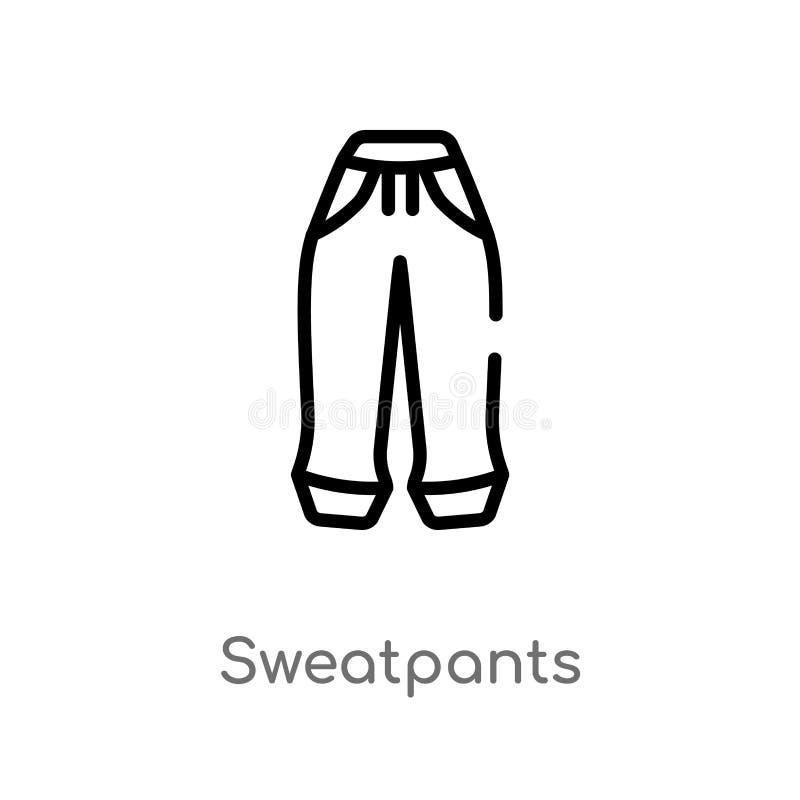 значок вектора sweatpants плана изолированная черная простая линия иллюстрация элемента от концепции одежд Editable ход вектора иллюстрация штока