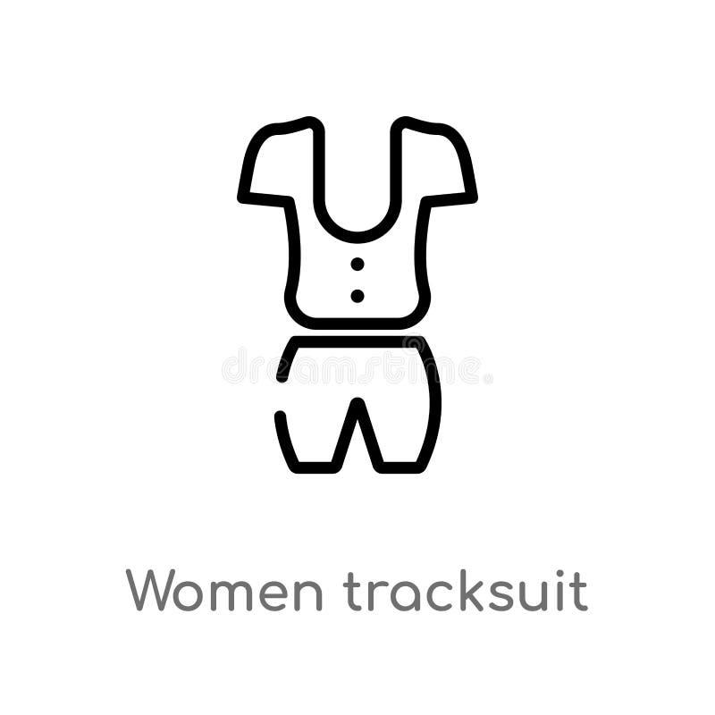 значок вектора tracksuit женщин плана изолированная черная простая линия иллюстрация элемента от концепции моды Editable ход вект иллюстрация штока