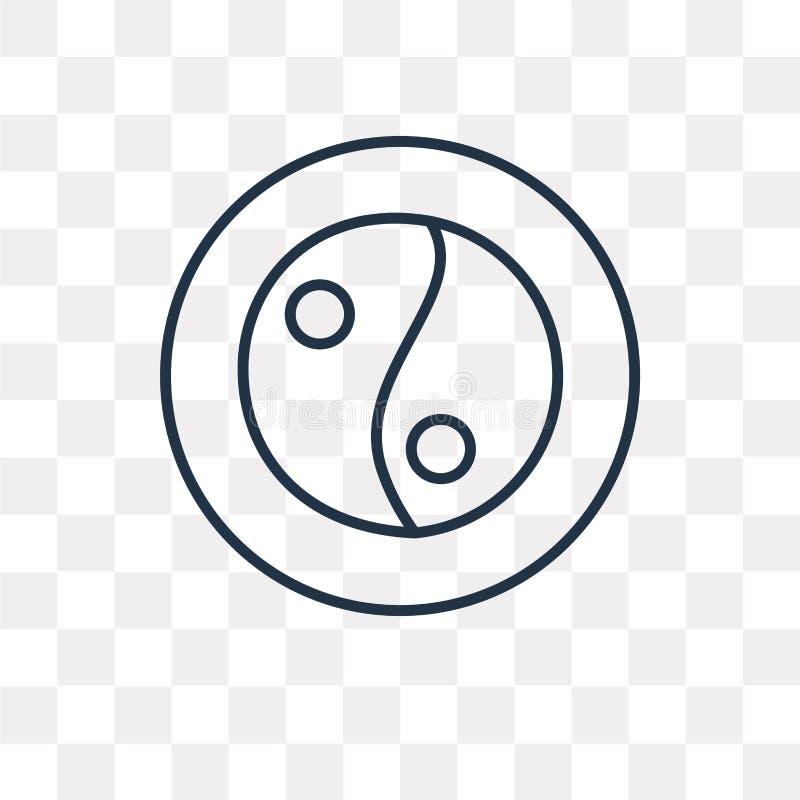 Значок вектора Yin yang изолированный на прозрачной предпосылке, линейной иллюстрация штока