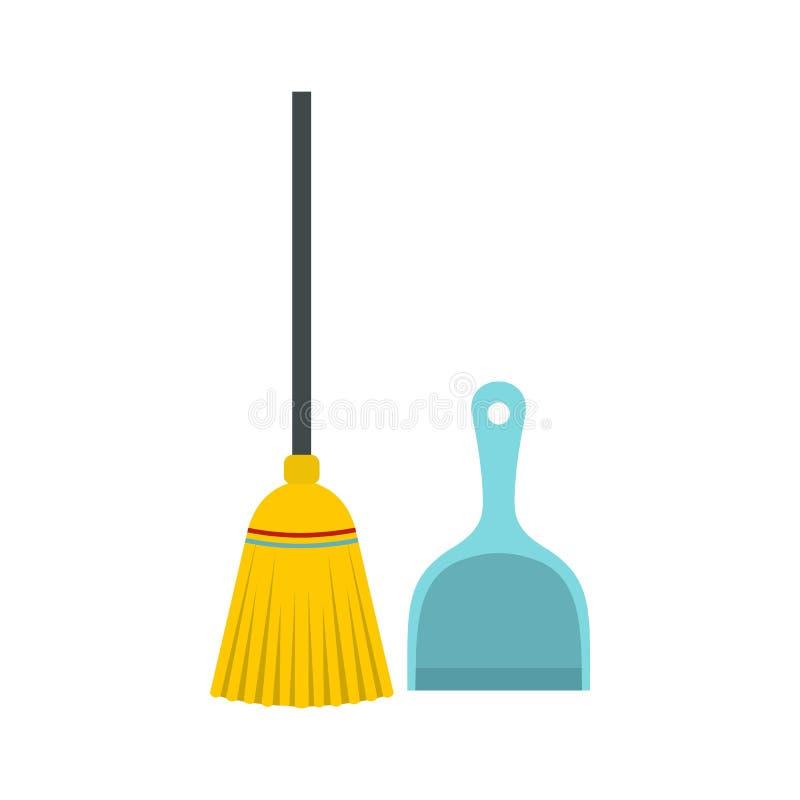 Значок веника и dustpan, плоский стиль иллюстрация вектора