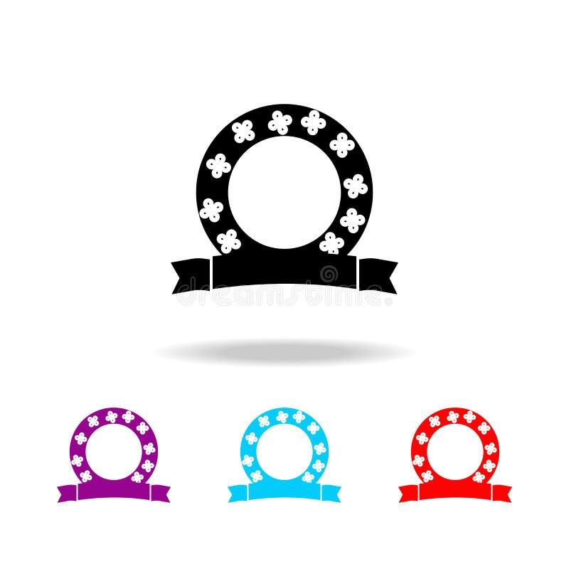 Значок венка Элементы смерти в multi покрашенных значках Наградной качественный значок графического дизайна Простой значок для ве бесплатная иллюстрация