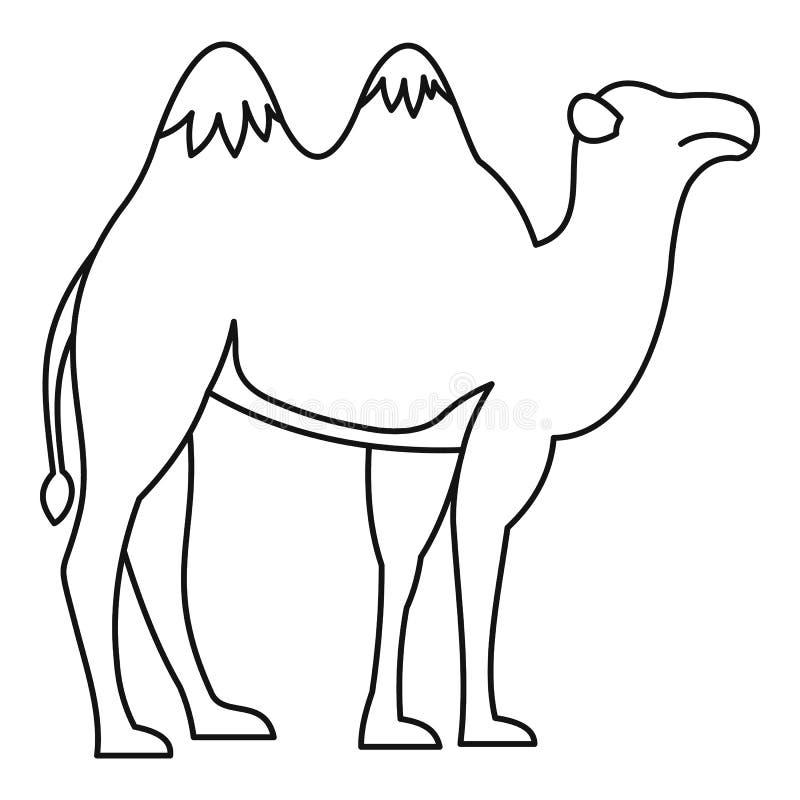 Значок верблюда, стиль плана иллюстрация штока