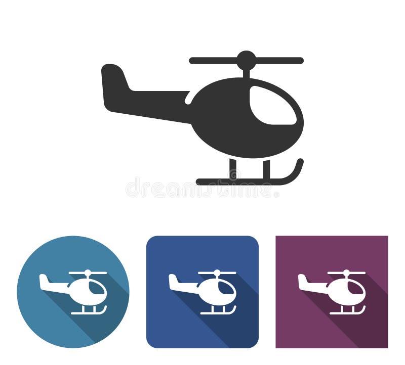 Значок вертолета в различных вариантах иллюстрация штока