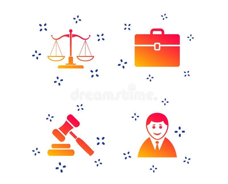 Значок весов правосудия Молоток и случай аукциона r бесплатная иллюстрация