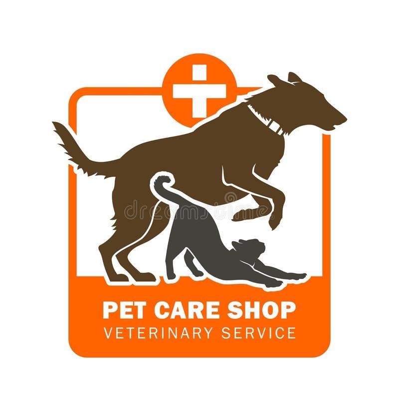 Значок ветеринарного обслуживания любимчика с собакой и кошкой стоковое изображение rf