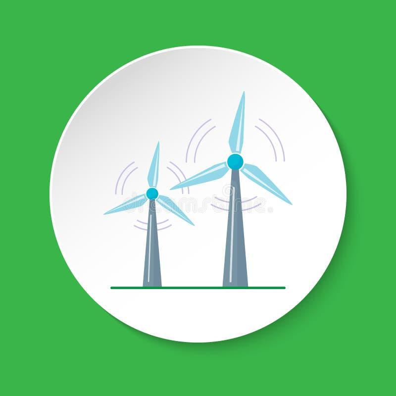 Значок ветротурбины в плоском стиле на круглой кнопке иллюстрация штока