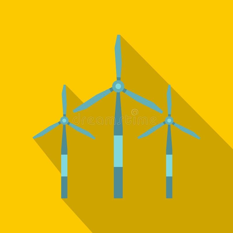 Значок ветротурбины, плоский стиль бесплатная иллюстрация