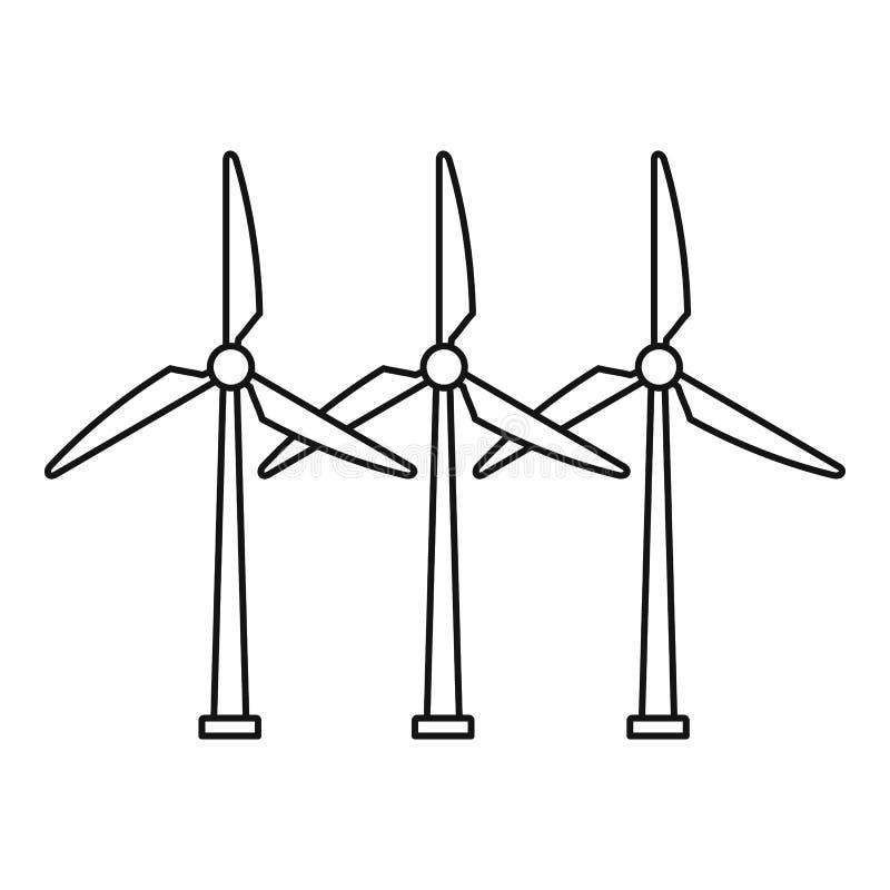 Значок ветротурбины развития, стиль плана иллюстрация вектора