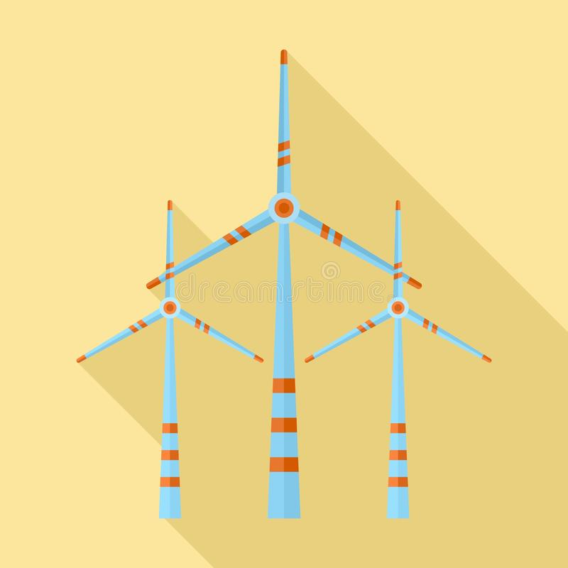 Значок ветротурбины энергии Eco, плоский стиль бесплатная иллюстрация