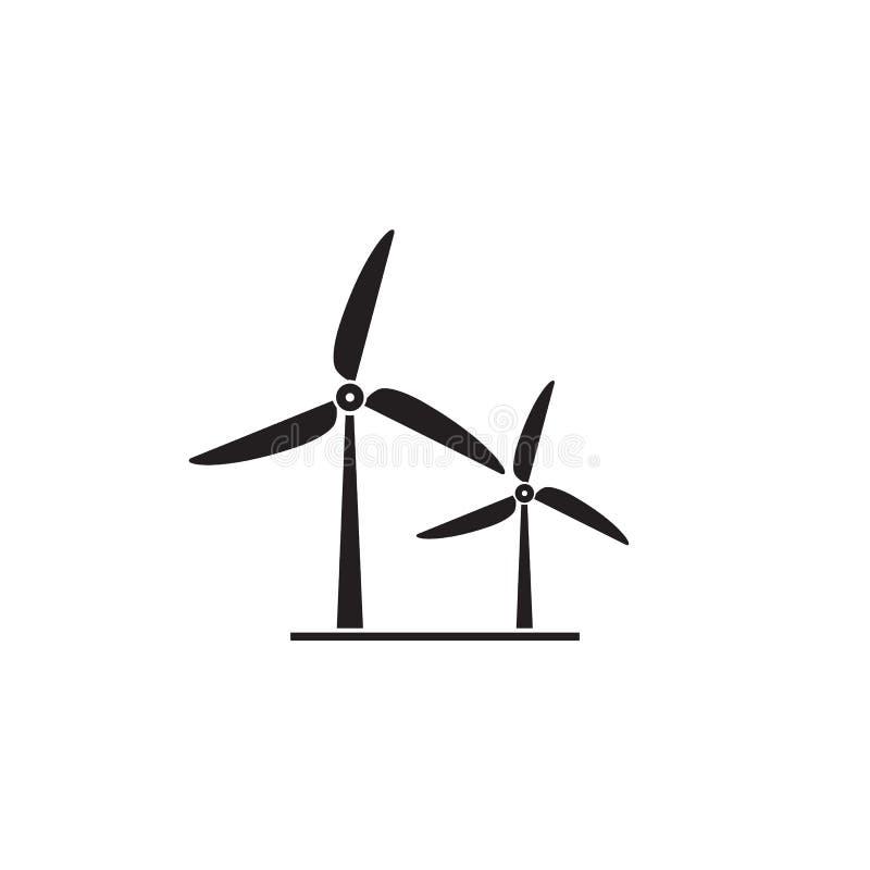 Значок ветротурбины r Силуэт ветрянки бесплатная иллюстрация