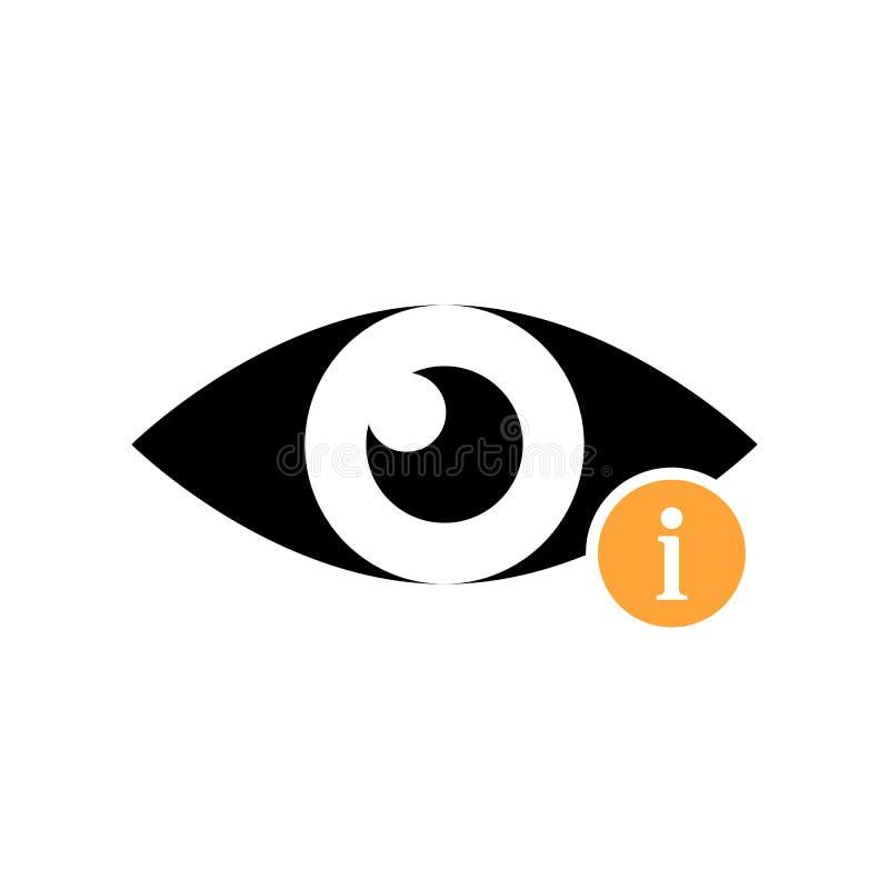 Значок взгляда с знаком информации Осмотрите значок и около, Ч.З.В., помощь, символ намека иллюстрация вектора