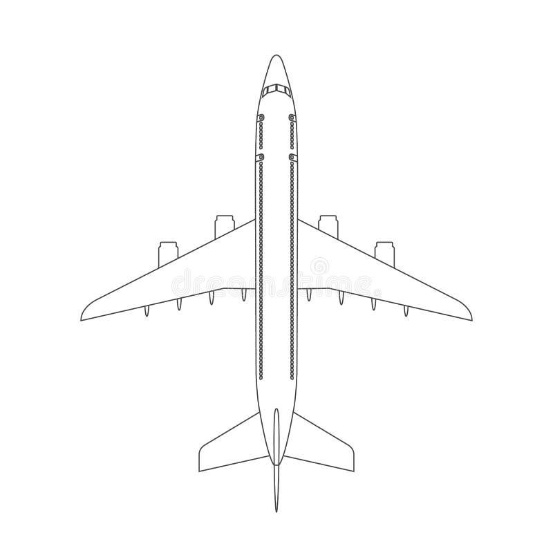 Значок взгляд сверху самолета с ультрамодным стилем хода линии или плана Воздушные судн, пассажирский самолет с 4 реактивными дви иллюстрация штока