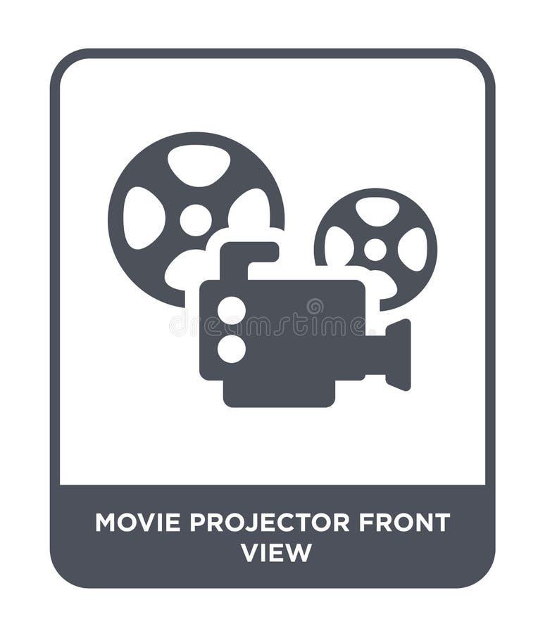 значок вида спереди репроектора фильма в ультрамодном стиле дизайна значок вида спереди репроектора фильма изолированный на белой бесплатная иллюстрация