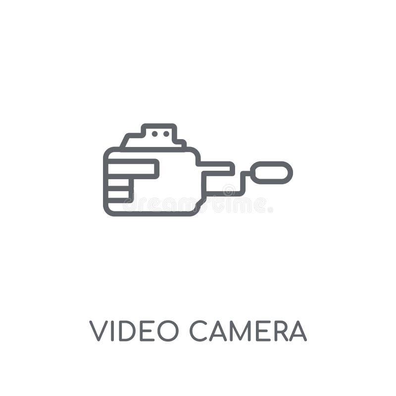Значок видеокамеры линейный Современное conce логотипа видеокамеры плана иллюстрация вектора