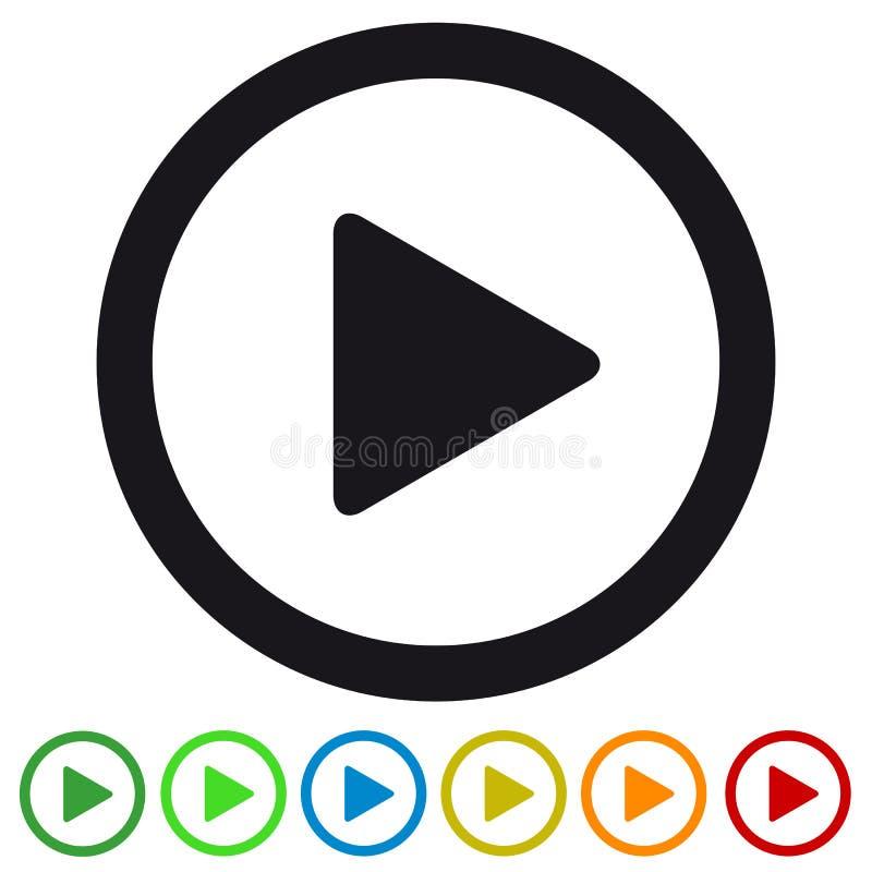 Значок видео- кнопки игры средств массовой информации плоский для Apps и вебсайтов - красочной иллюстрации вектора - изолированны иллюстрация вектора