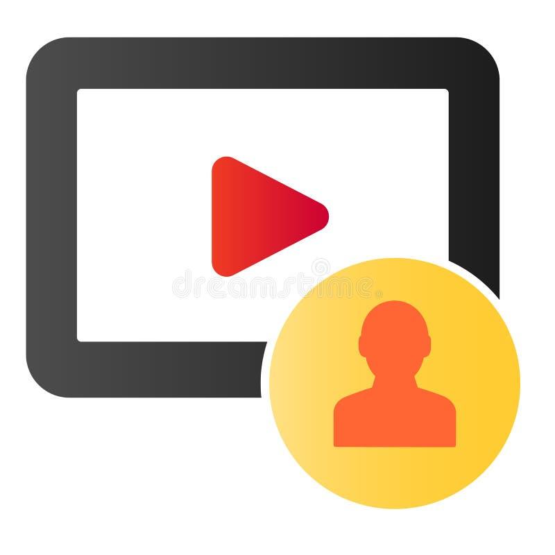 Значок видео- содержания подписчика плоский Видео- значки цвета потребителя блога в ультрамодном плоском стиле Дизайн стиля гради иллюстрация вектора