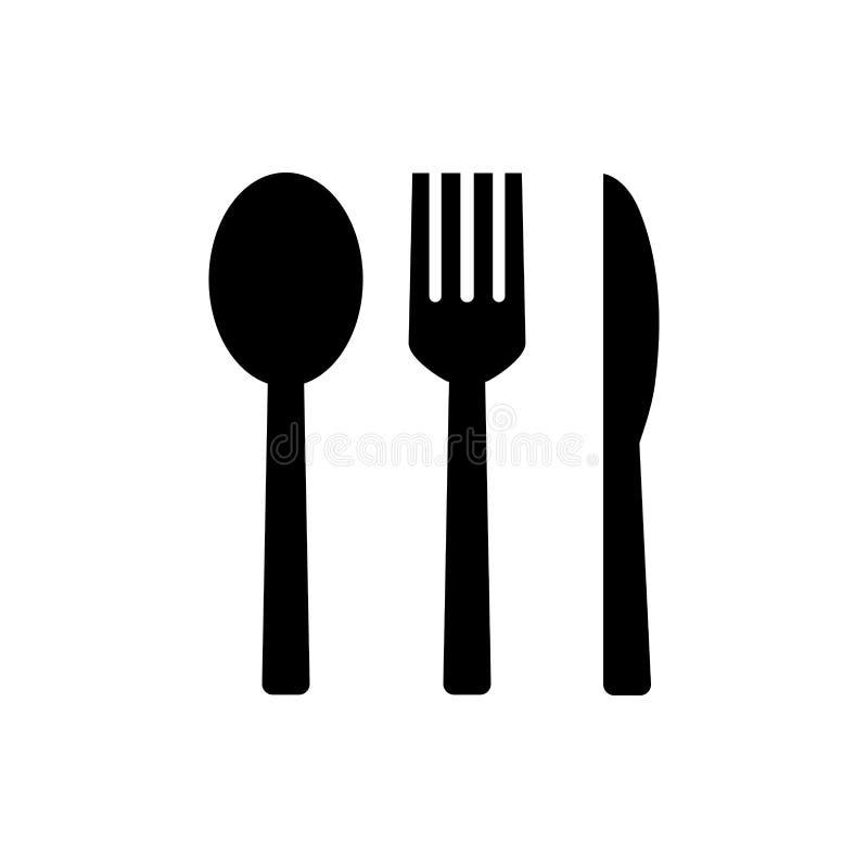 Значок вилки и ложки и ножа иллюстрация вектора