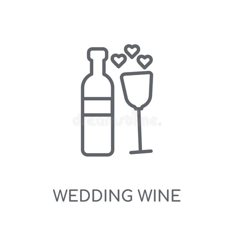 значок вина свадьбы линейный Современное conce логотипа вина свадьбы плана бесплатная иллюстрация
