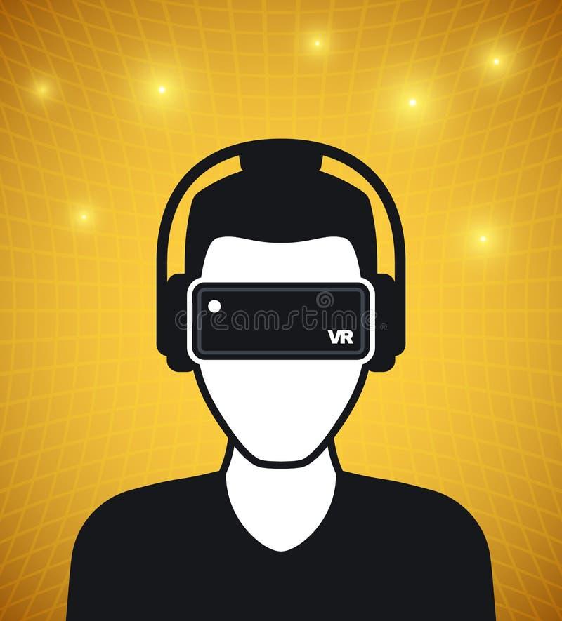 Значок виртуальной реальности, люди с стеклами и шлемофон иллюстрация вектора